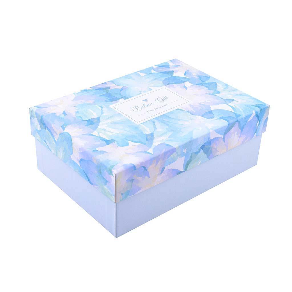 Papierová krabica 28,5x21,5x11 cm, mentolová s kvetmi