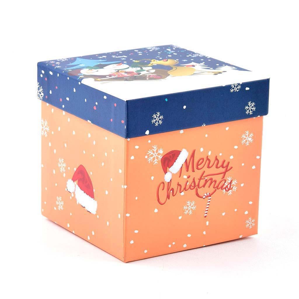 Papierová krabica 11,5x11,5x11,5 cm, vianočná oranžová s modrým vekom
