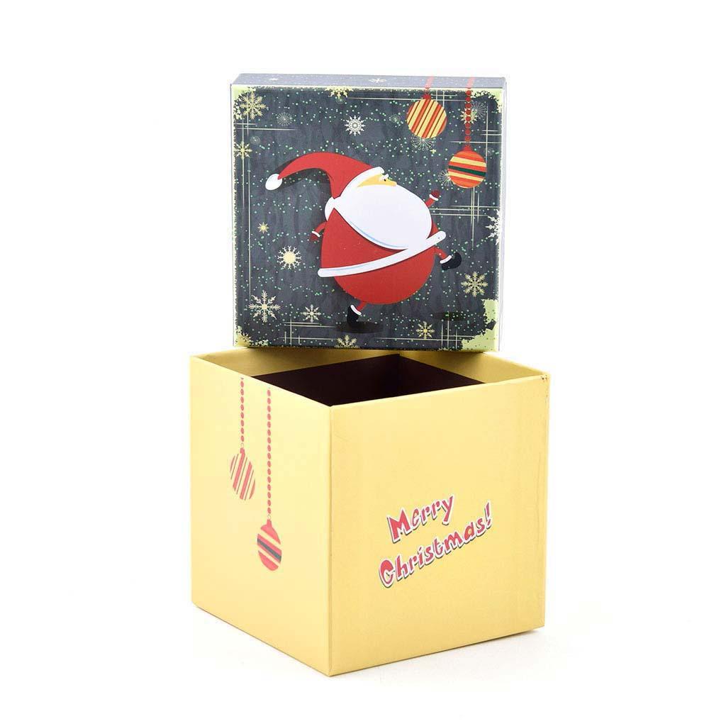 Papierová krabica 11,5x11,5x11,5 cm, vianočná žltá s modrým vekom