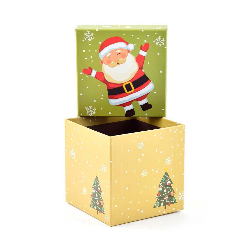 Papierová krabica 11,5x11,5x11,5 cm, vianočná žltá so zeleným vekom
