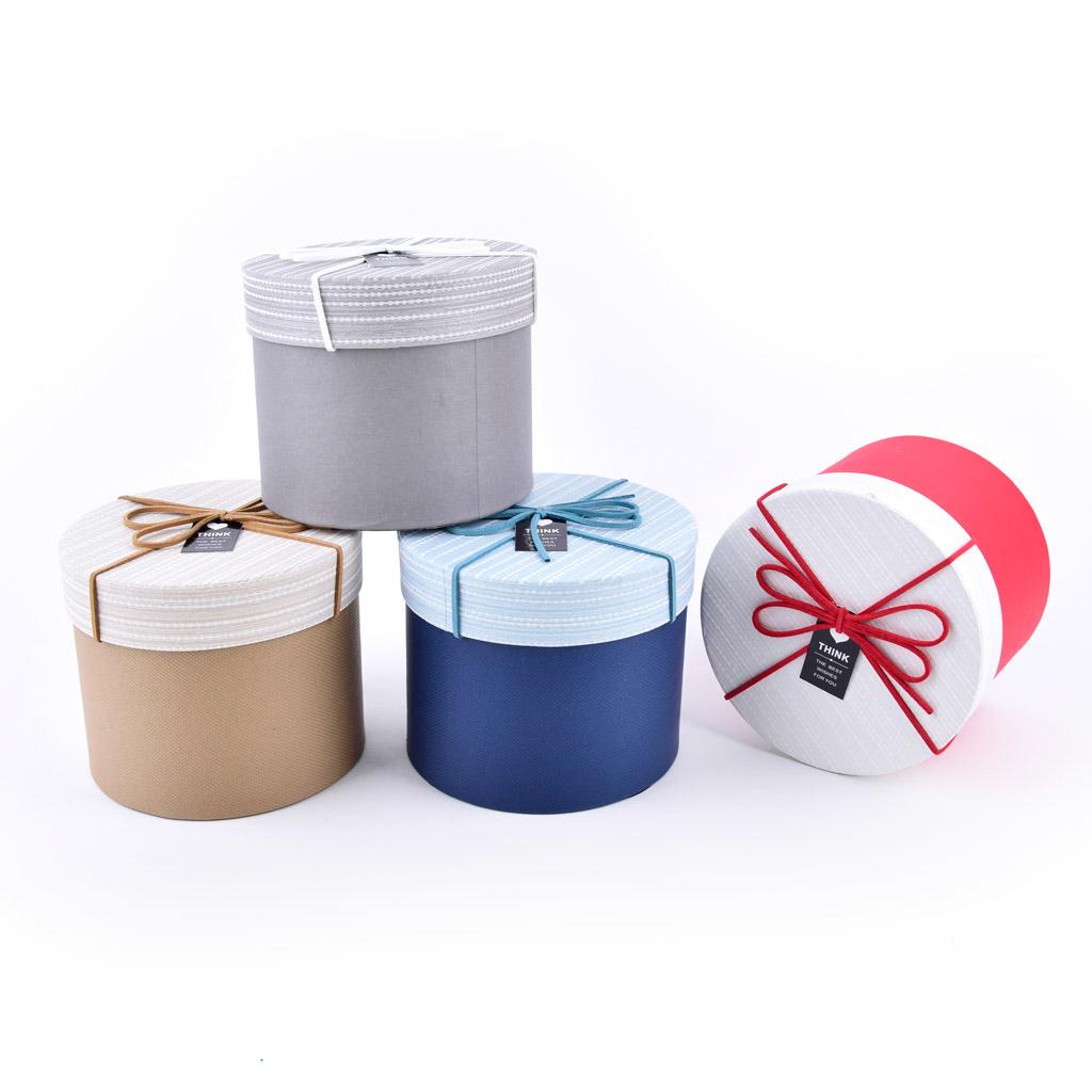 Papierová krabica 13,8x13,8x11,5 cm, okrúhla s mašľou, mix farieb, 4 ks