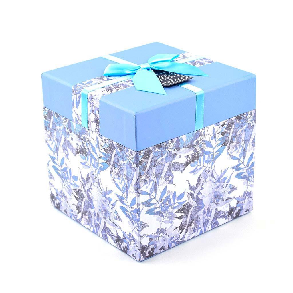 Papierová krabica 9x9x9 cm, modrá kvetovaná s mašľou