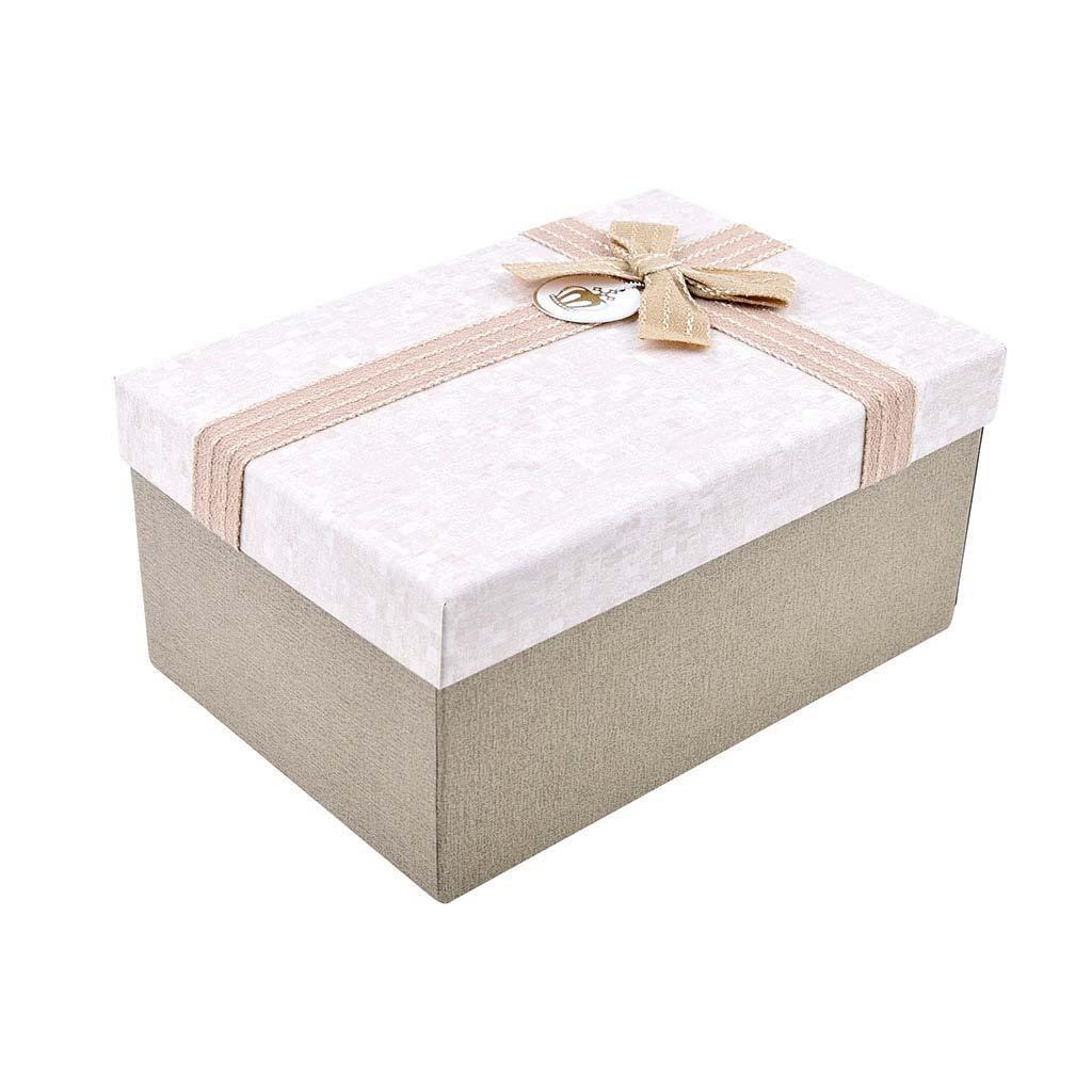 Papierová krabica 19x13,5x9,5 cm, béžová s mašľou