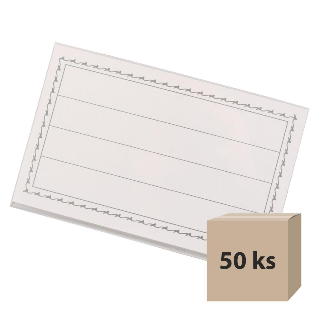 Visačka 57 x 90 mm, štipec, špendlík, 50 ks