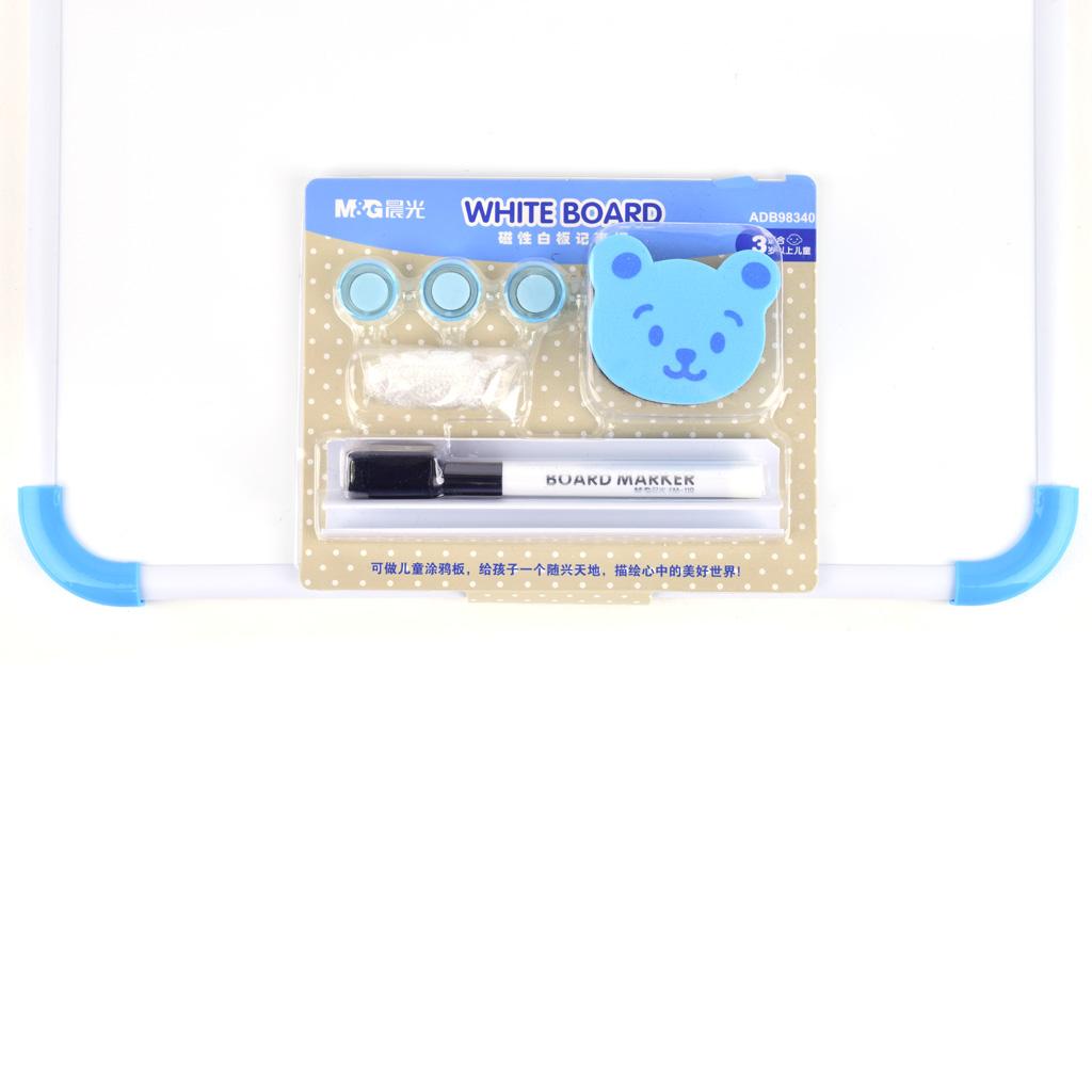 M&G Tabuľka magnetická, biela,34,7x46,7cm s popisovačom, stierkou a magnetmi, mix farieb