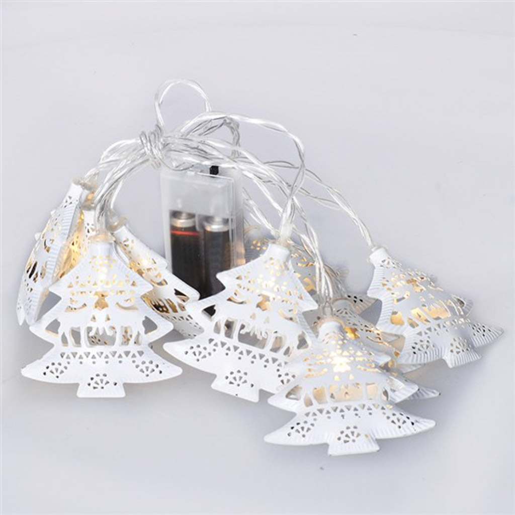 Vianočné stromčeky kovové, biele, reťaz, 1m, 10LED