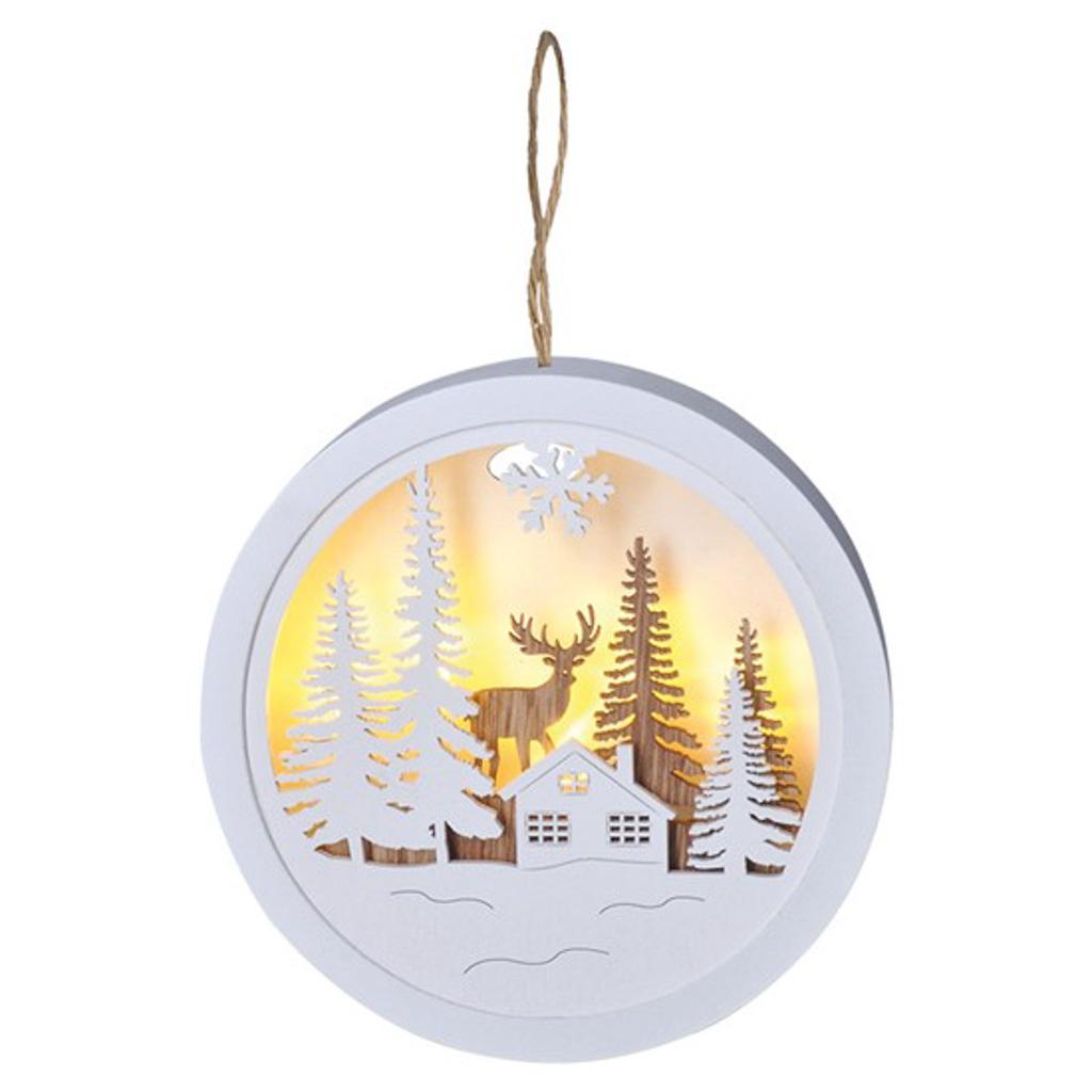 Vianočná drevená krajinka s LED
