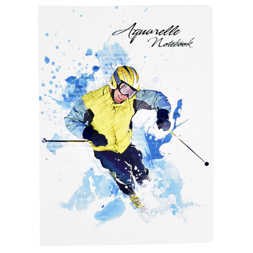 "Zošit A4, linajkový, 52 l. - ""Aquarelle – lyžiar"""