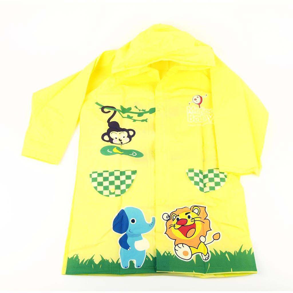 Detský pršiplášť s otvorom pre školskú tašku; žltý; veľ. M