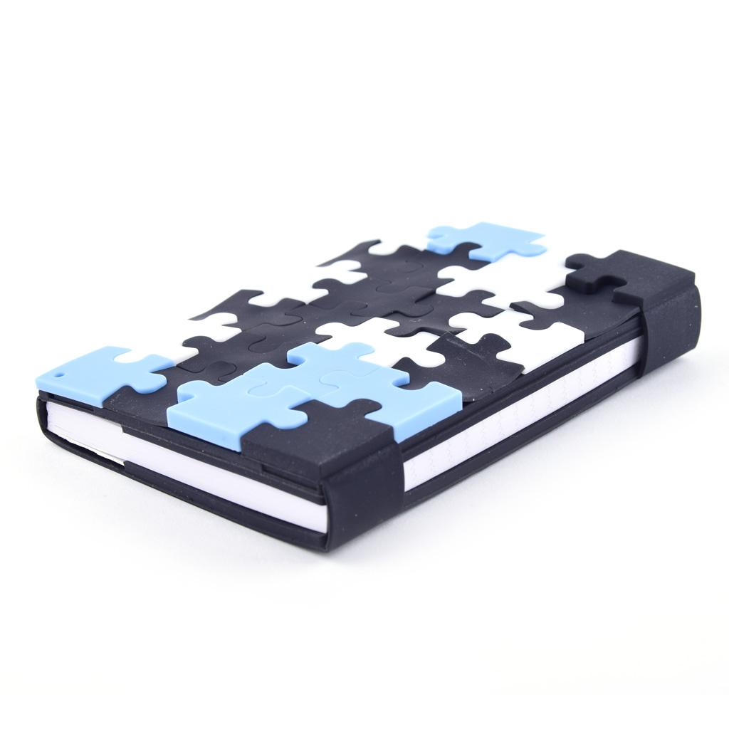 "Blok A6, linajkový, 100 l. pogumovaný, ""Puzzle"" mix farieb"