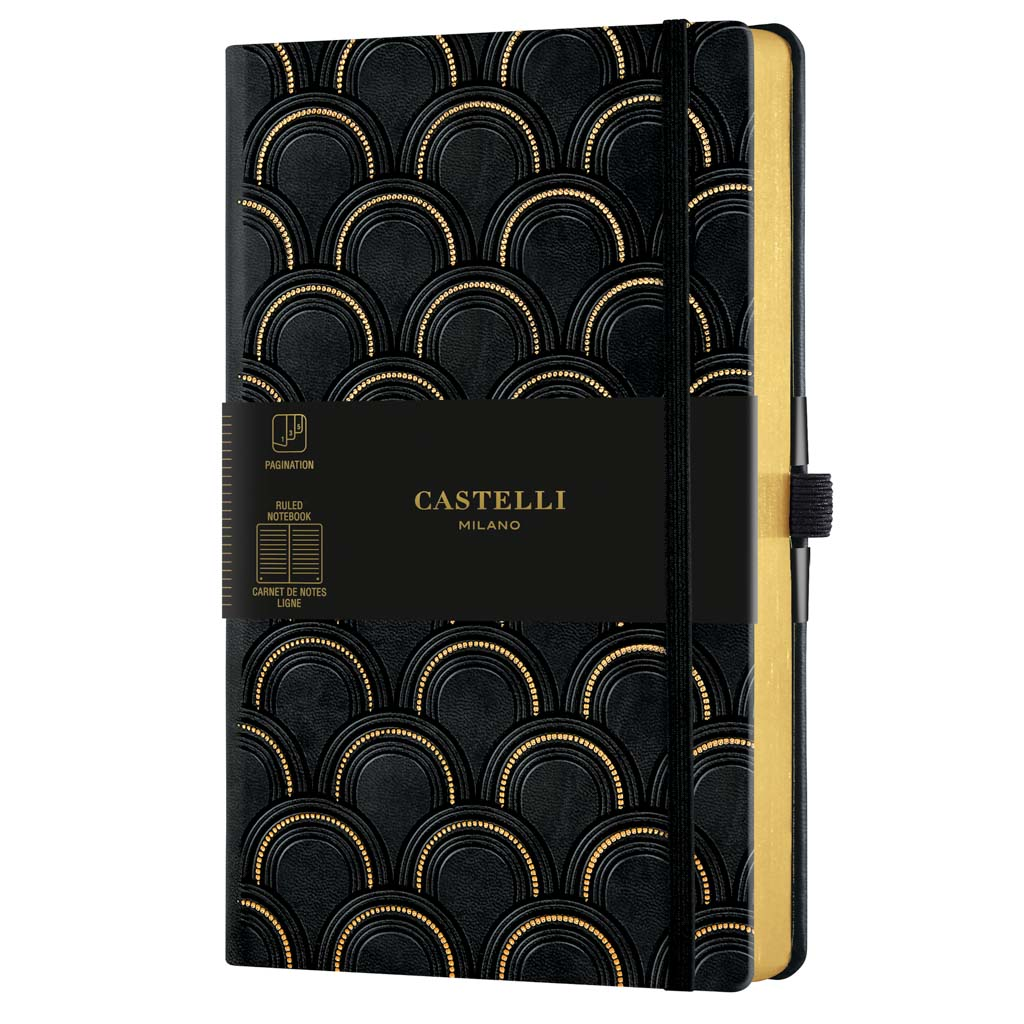 "Castelli Blok ""COPPER&GOLD"", MEDIUM, linajkový, 120 l., Art Deco Gold"