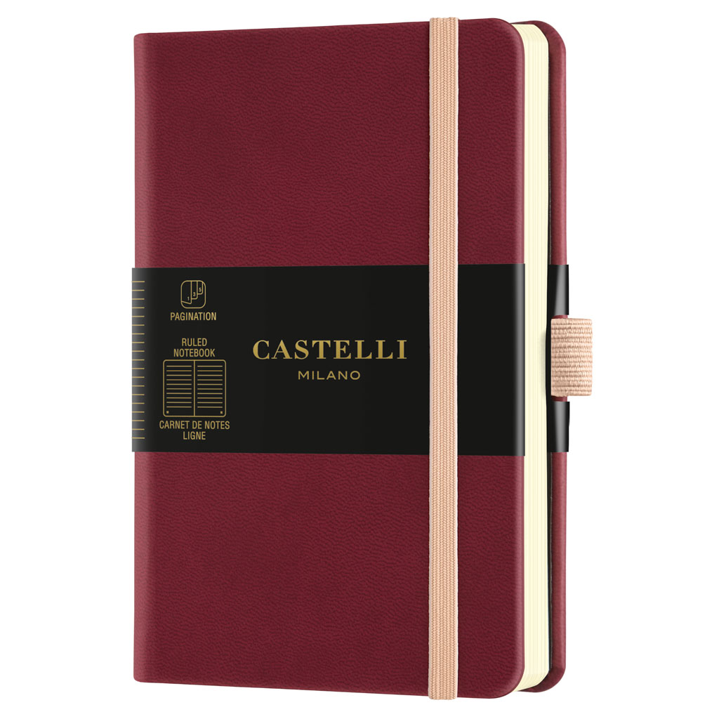 "Castelli Blok ""AQUARELA"", POCKET, linajkový, 96 l., Black Cherry"