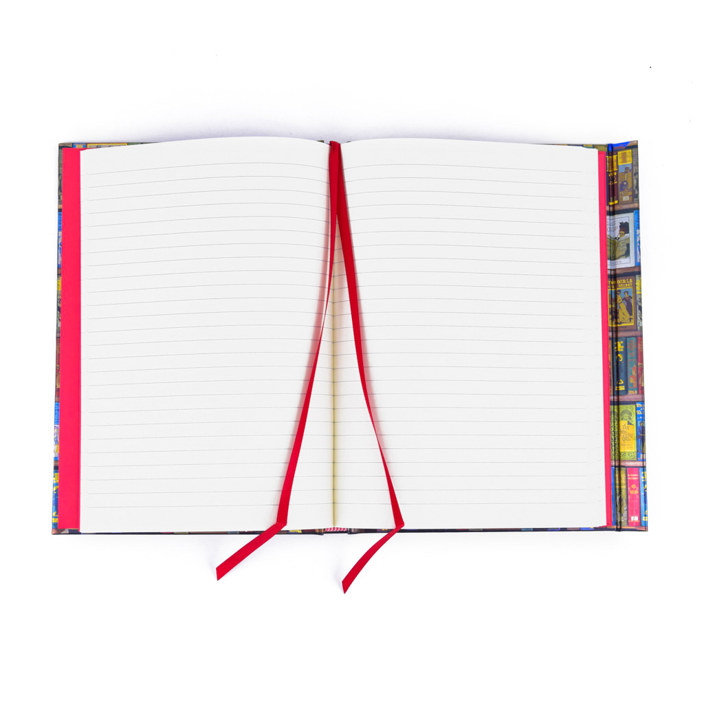 Zápisník A5, s magnetom, linajkový, 176 l. - Knižnica, dievčenský motív