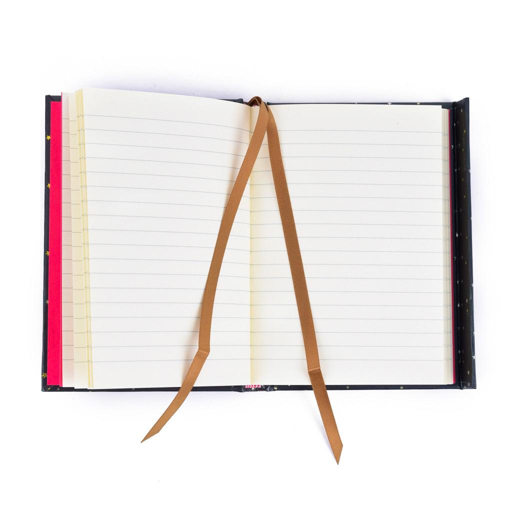 Vreckový zápisník A6, s magnetom, linajkový, 176 l. - Erte: Starstruck