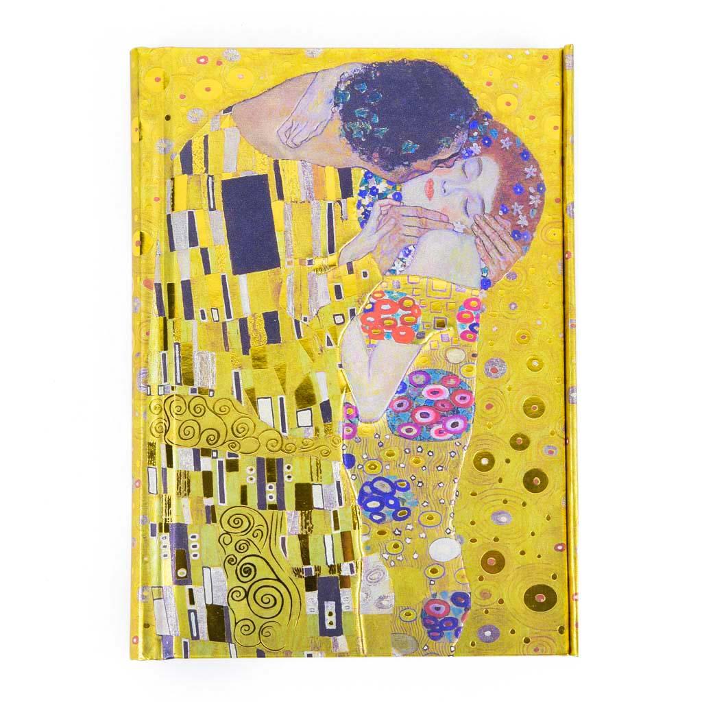 Vreckový zápisník A6, s magnetom, linajkový, 176 l. - Klimt: Bozk