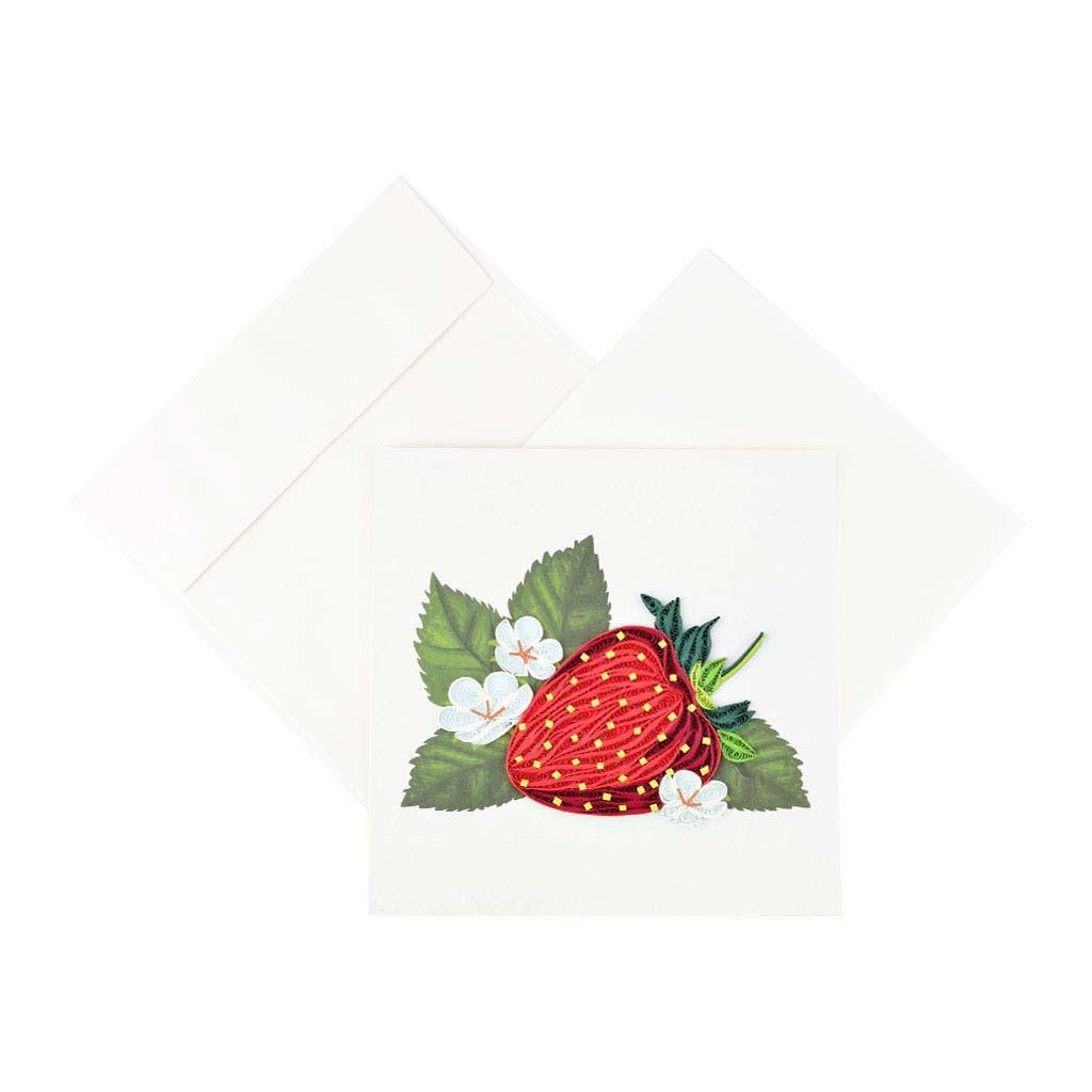Blahoželanie jahoda, ručná výroba, rozmer 15x15 cm