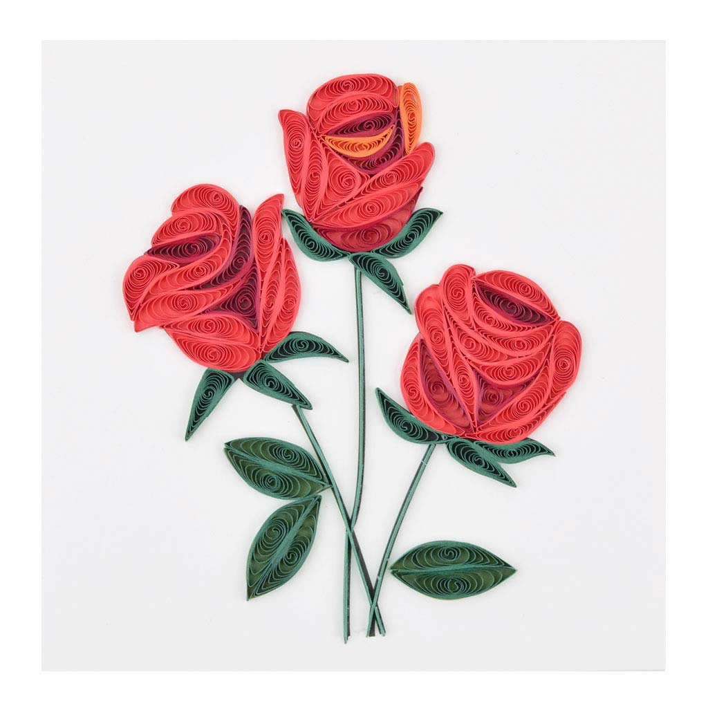 Blahoželanie červené ruže, ručná výroba, rozmer 15x15 cm