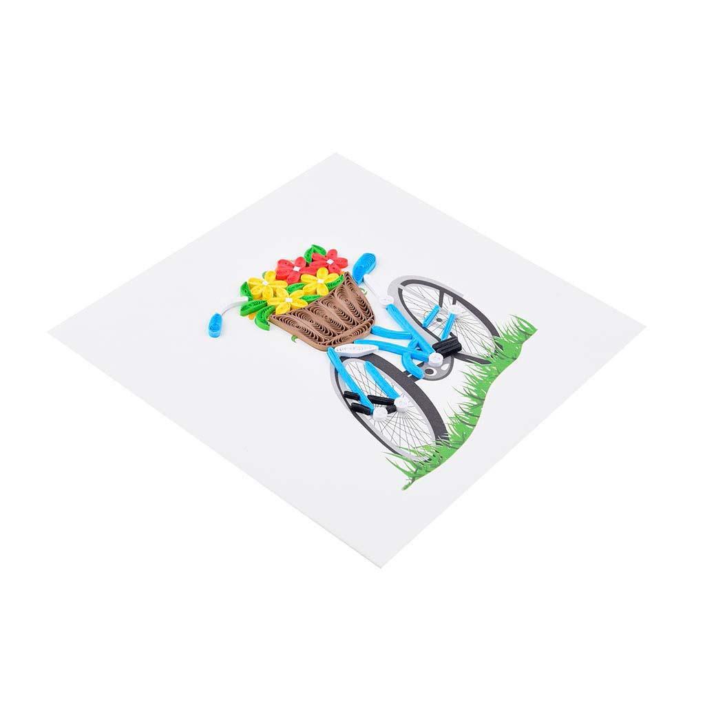 Blahoželanie bicykel s kvetmi, ručná výroba, rozmer 15x15 cm