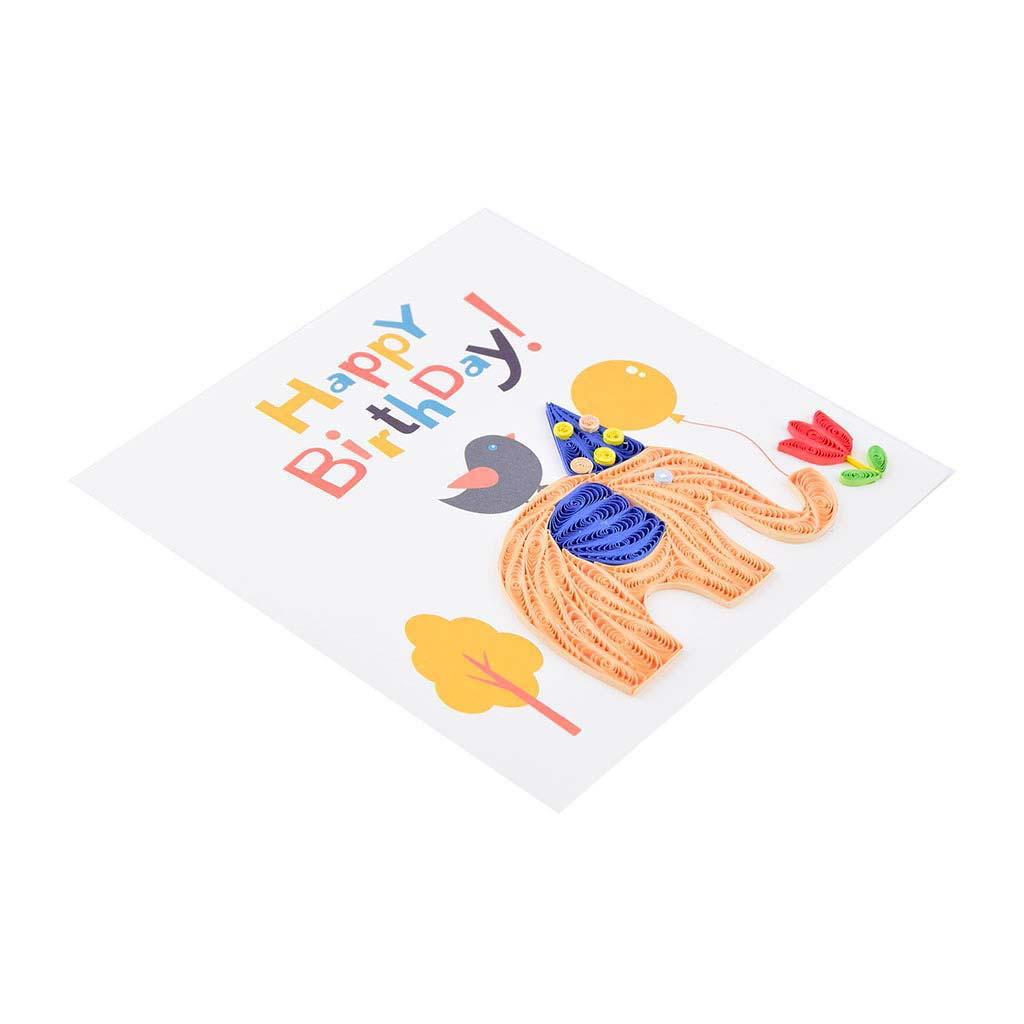 Blahoželanie, narodeninové, sloník, ručná výroba, rozmer 15x15 cm