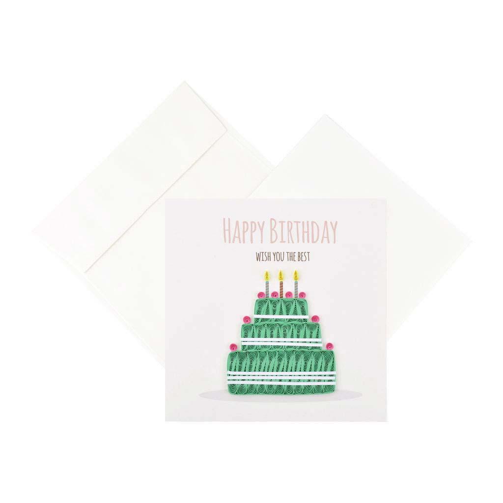 Blahoželanie, narodeninové, torta, ručná výroba, rozmer 15x15 cm