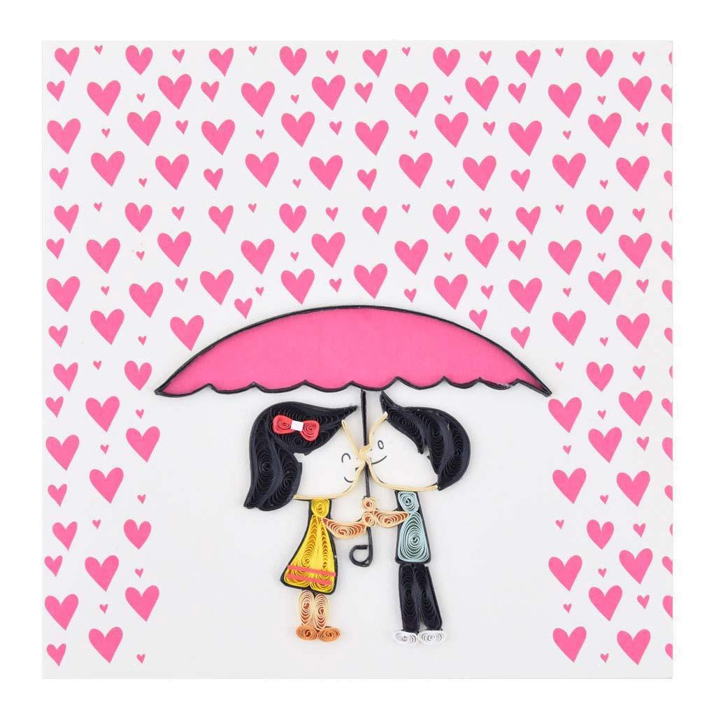 Blahoželanie zamilovaný párik, ručná výroba, rozmer 15x15 cm