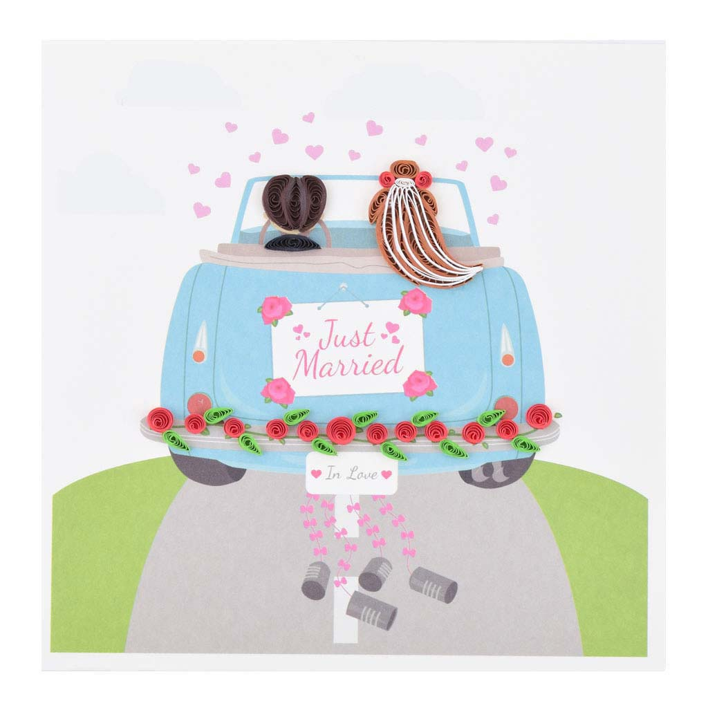 """Blahoželanie, svadobné, """"Just Married"""", ručná výroba, rozmer 15x15 cm"""