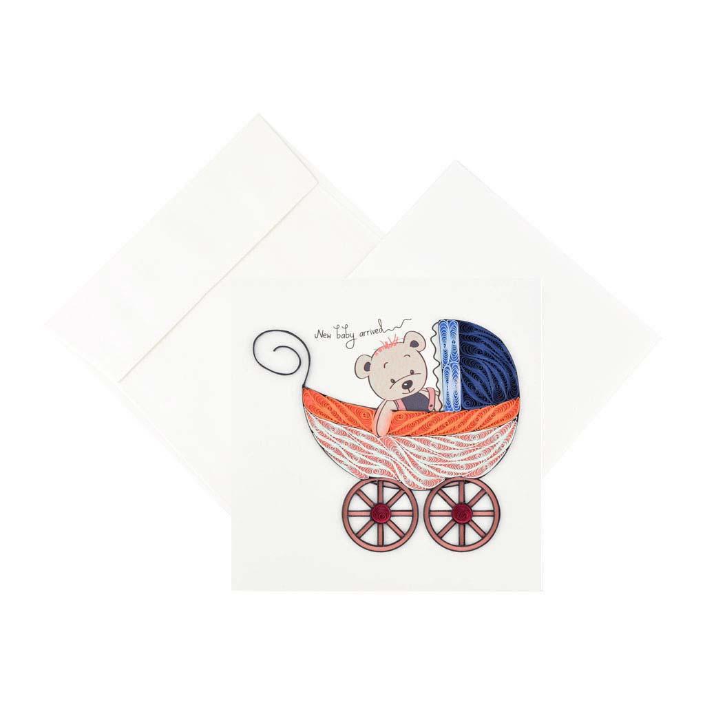 Blahoželanie kočík s medvedíkom, ručná výroba, rozmer 15x15 cm