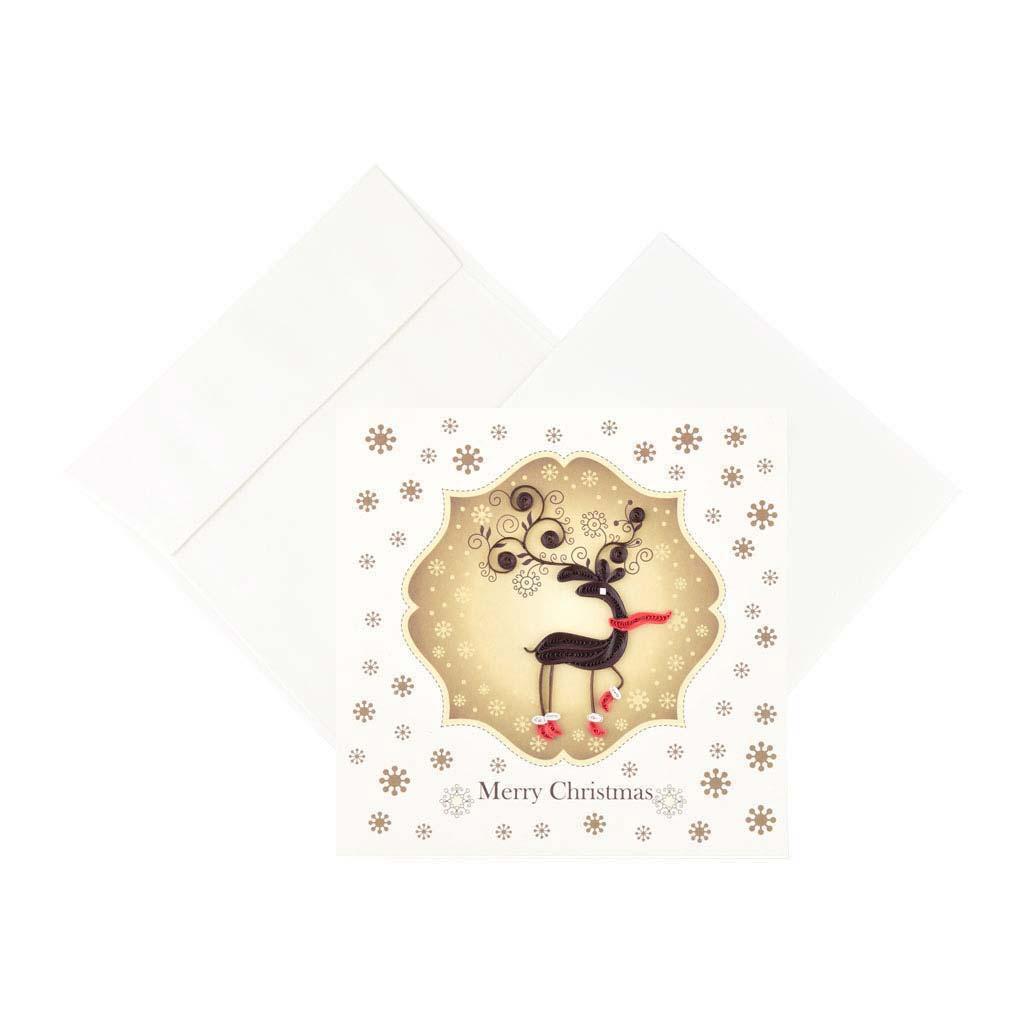 Blahoželanie, vianočné, sobík, ručná výroba, rozmer 15x15 cm