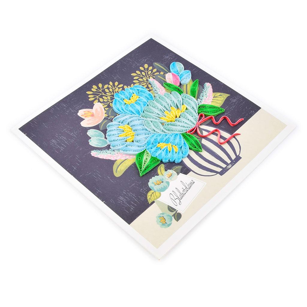 """Blahoželanie """"Blahoželáme"""" modrá kytica vo váze, ručná výroba , rozmer 15x15 cm"""