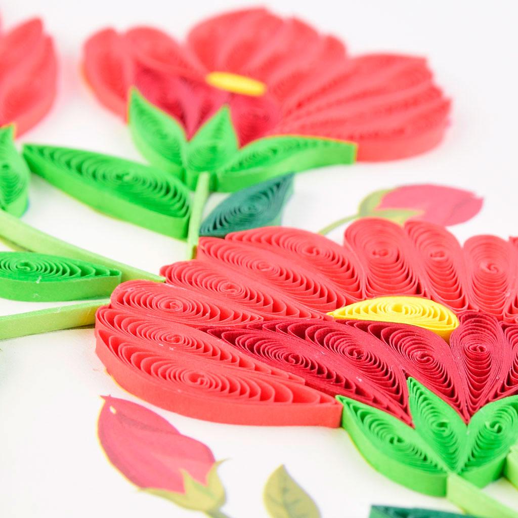 Blahoželanie červené kvety, ručná výroba, rozmer 15x15 cm