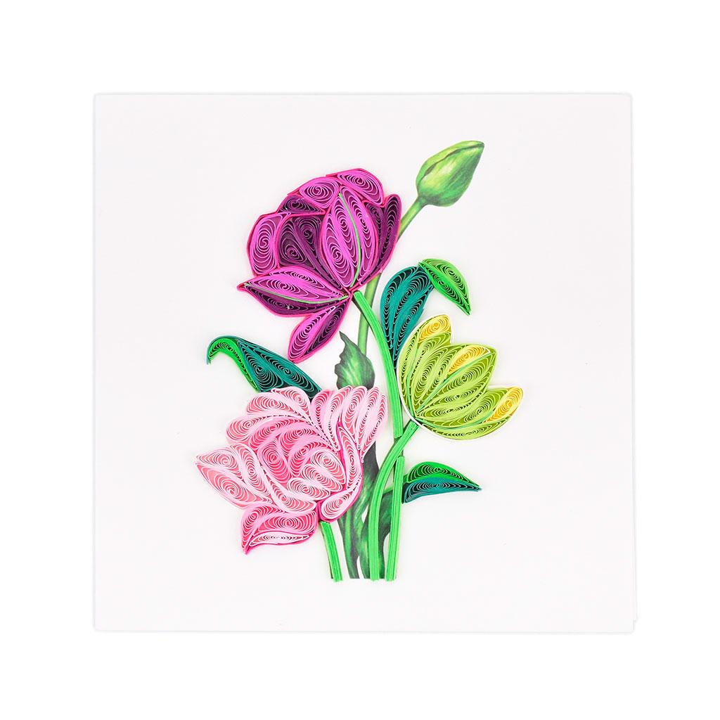 Blahoželanie tulipány, ručná výroba, rozmer 15x15 cm