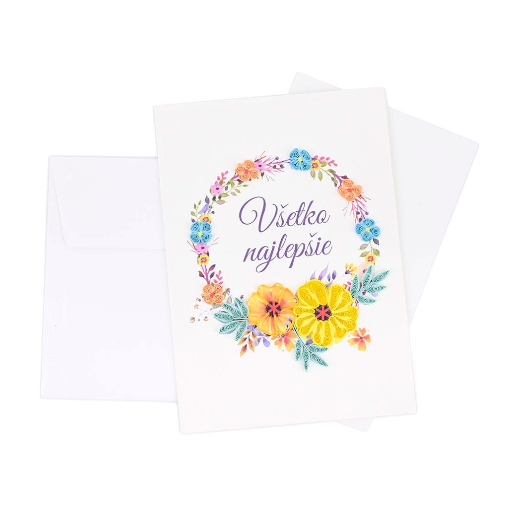 """Blahoželanie """"Všetko najlepšie"""" veniec z kvetov, ručná výroba, rozmer 13x18 cm"""