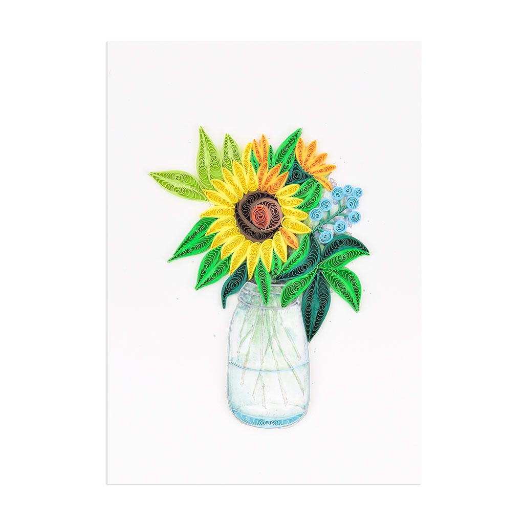 Blahoželanie slnečnice, ručná výroba, rozmer 13x18 cm