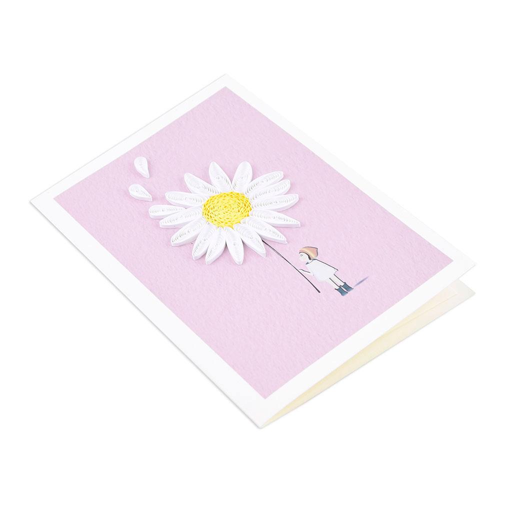 Blahoželanie dievčatko s chryzantémou, ručná výroba, rozmer 9x13 cm