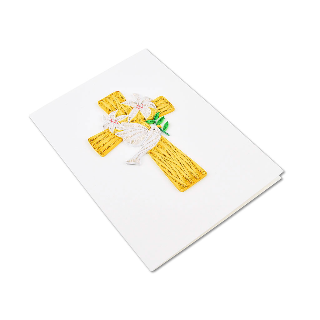 Blahoželanie krížik s holubicou, ručná výroba, rozmer 13x18 cm