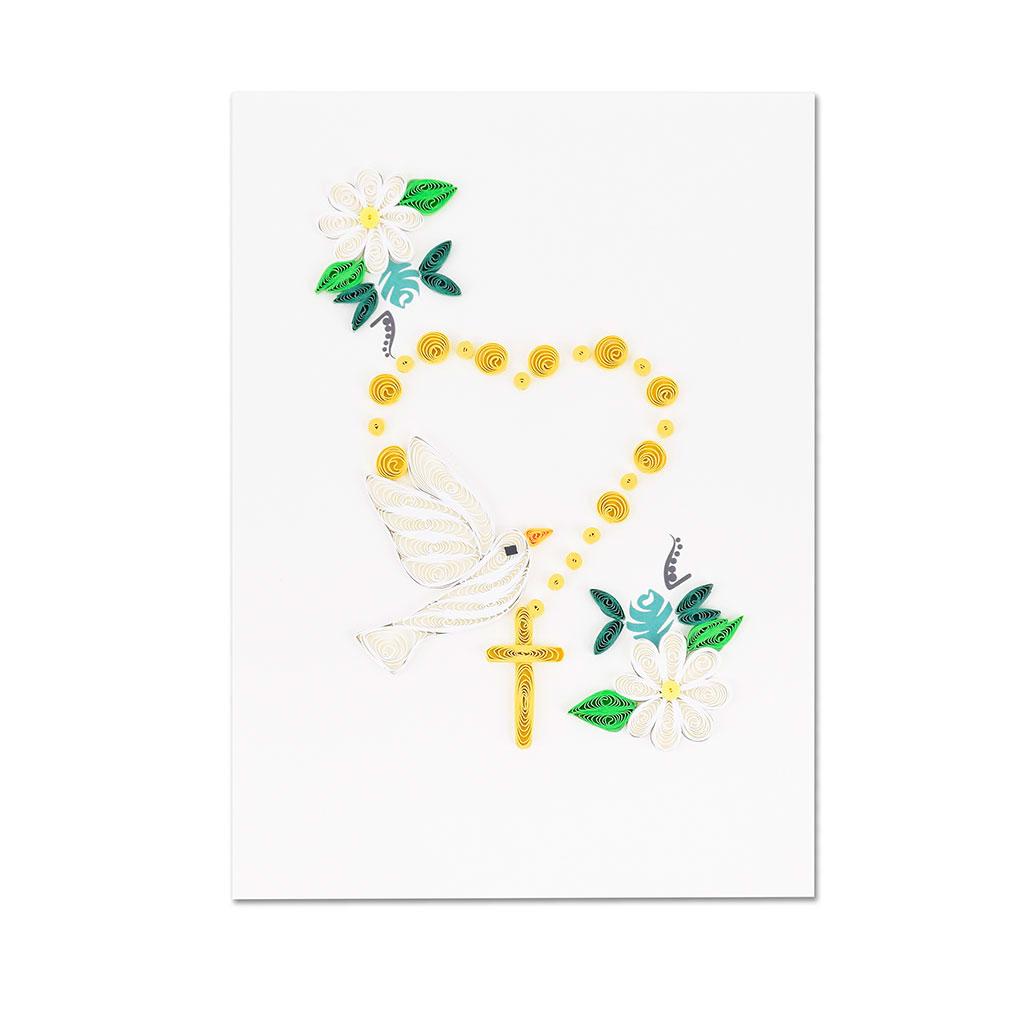 Blahoželanie ruženec s holubicou, ručná výroba, rozmer 13x18 cm