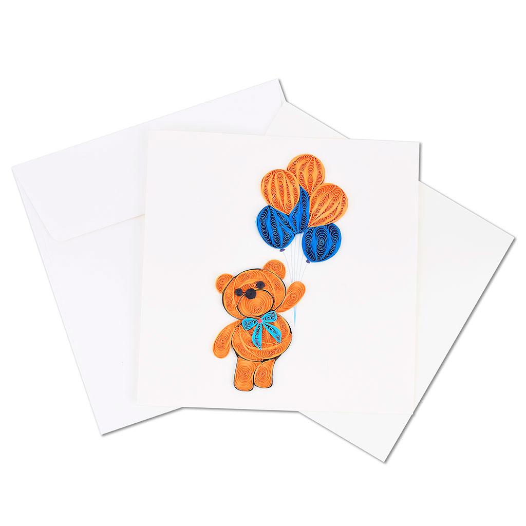 Blahoželanie medvedík s modrou mašľou a balónmi, modrý, ručná výroba, rozmer 15x15 cm