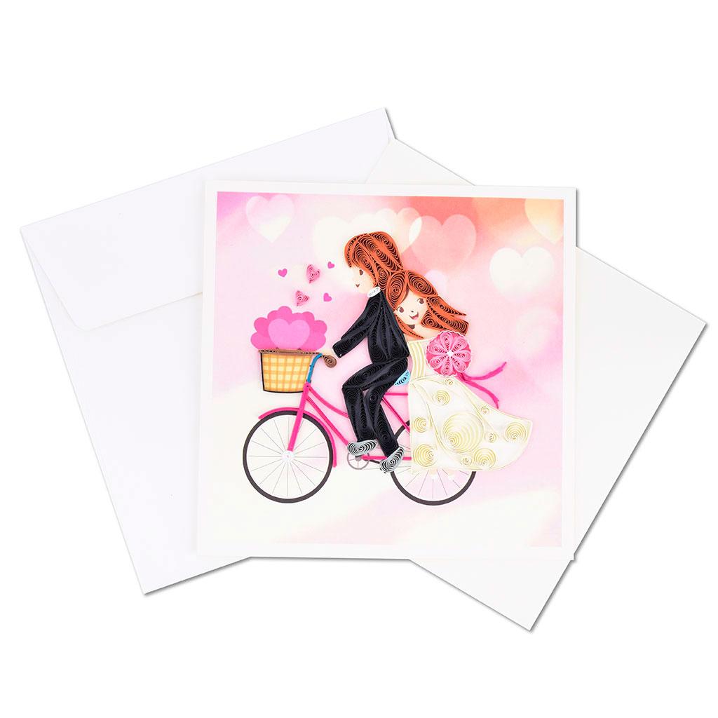 Blahoželanie, svadobné, novomanželia na bicykli, ručná výroba, rozmer 15x15 cm