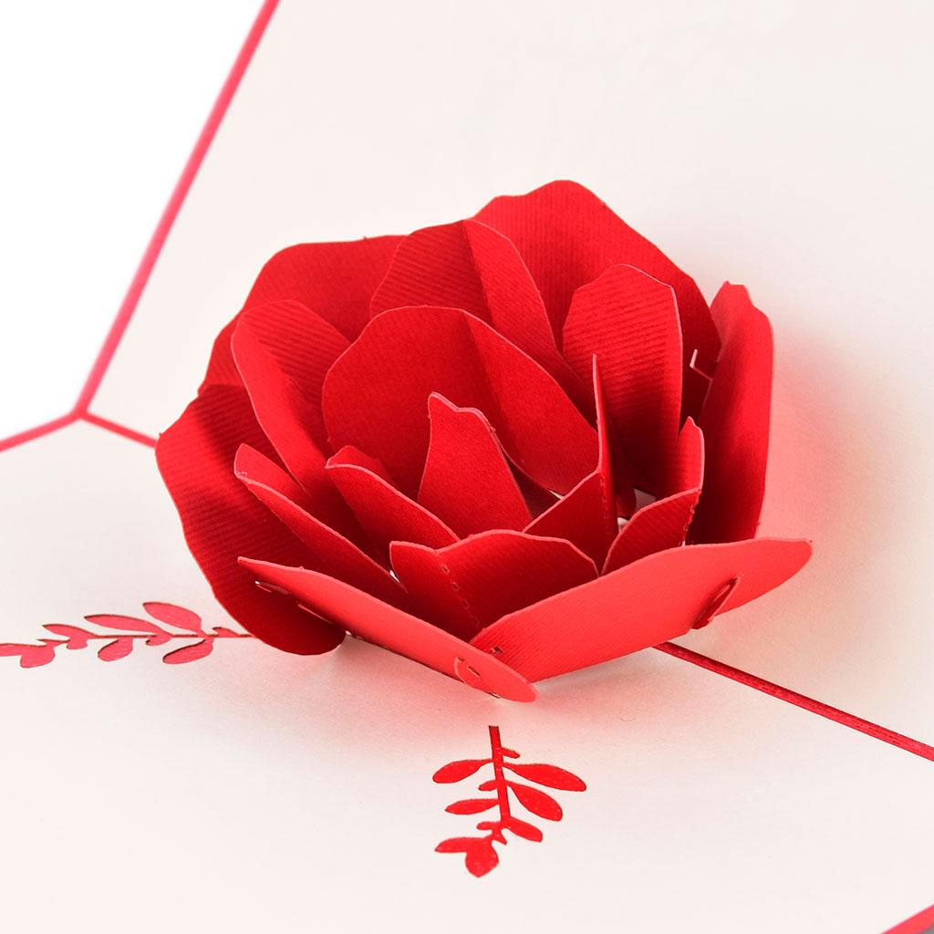 Blahoželanie 3D, ruža, ručná výroba