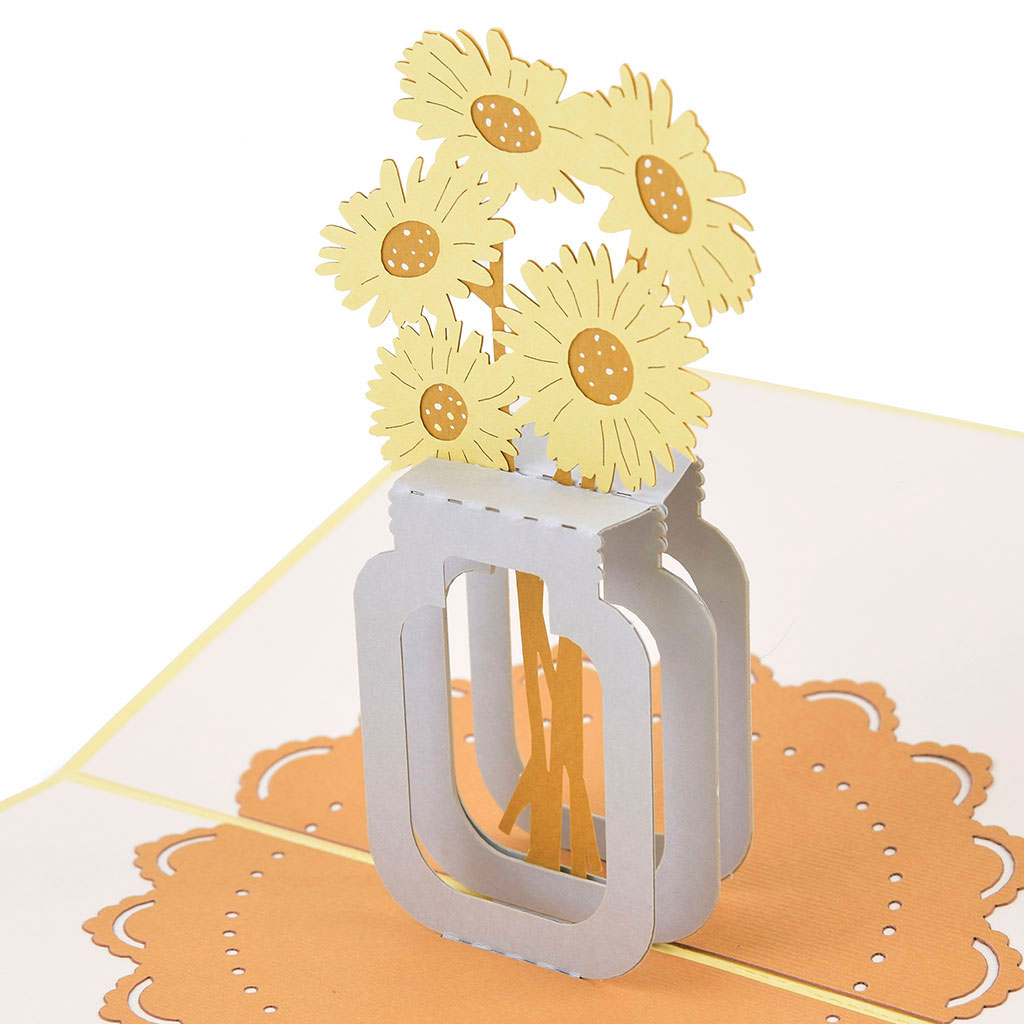 Blahoželanie 3D, slnečnice vo váze, ručná výroba