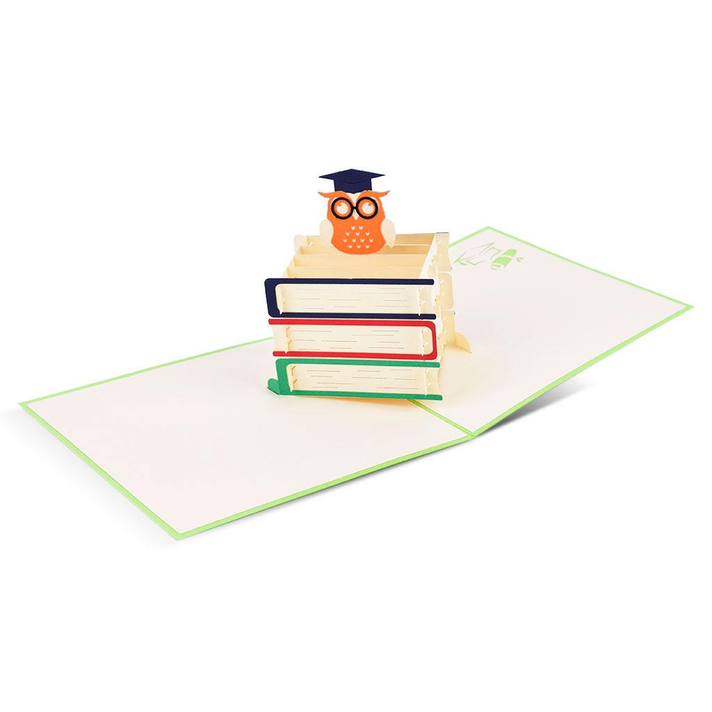 Blahoželanie 3D, k promóciám, sova s knihami, ručná výroba