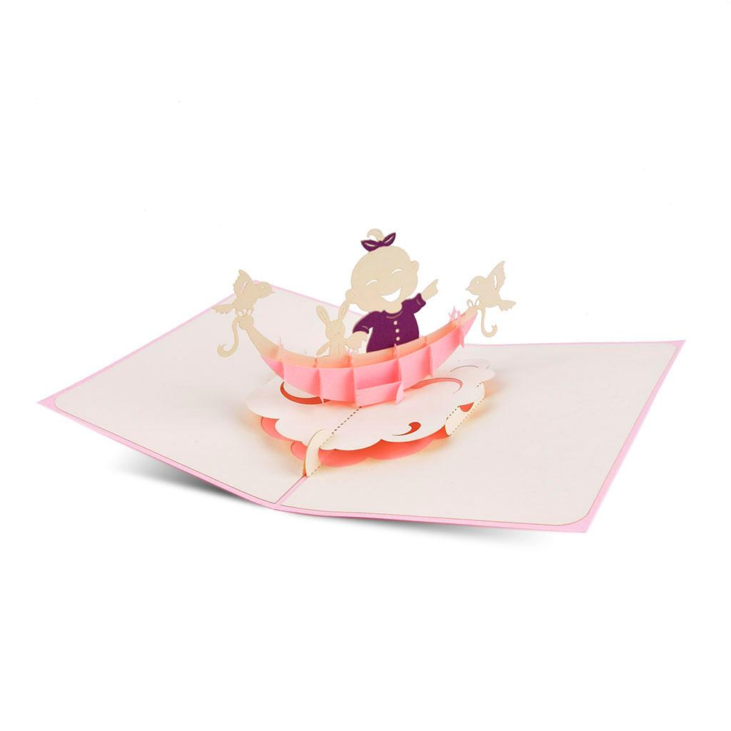 Blahoželanie 3D, narodenie dieťaťa, dievčatko, ručná výroba