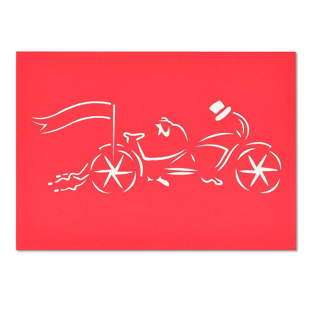 Blahoželanie 3D, svadobné, mladomanželia na bicykli, ručná výroba