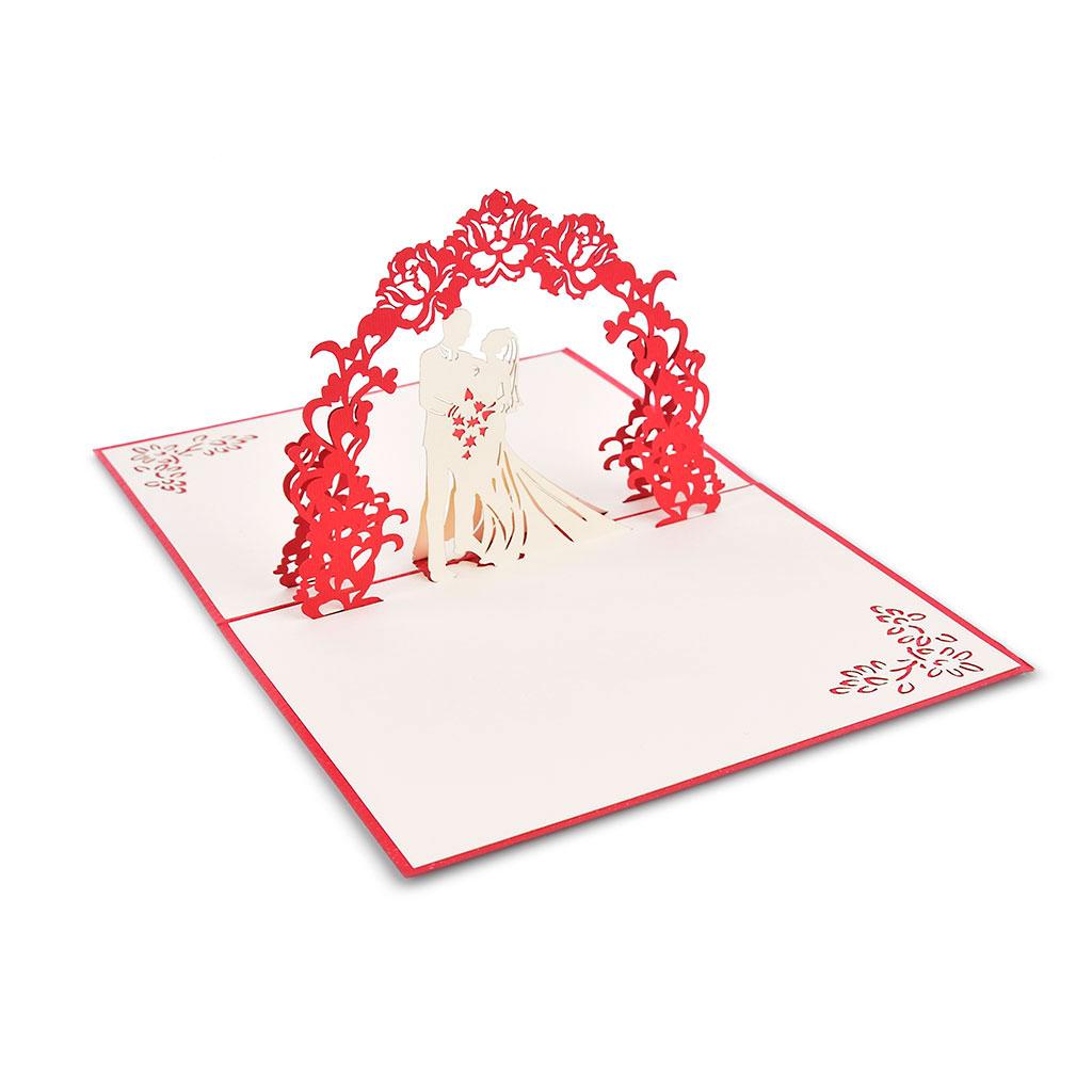 Blahoželanie 3D, svadobné, mladomanželia pod oblúkom, ručná výroba
