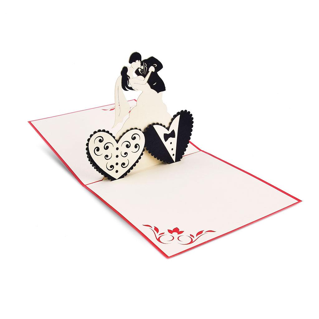 Blahoželanie 3D, svadobné, tancujúci mladomanželia, ručná výroba