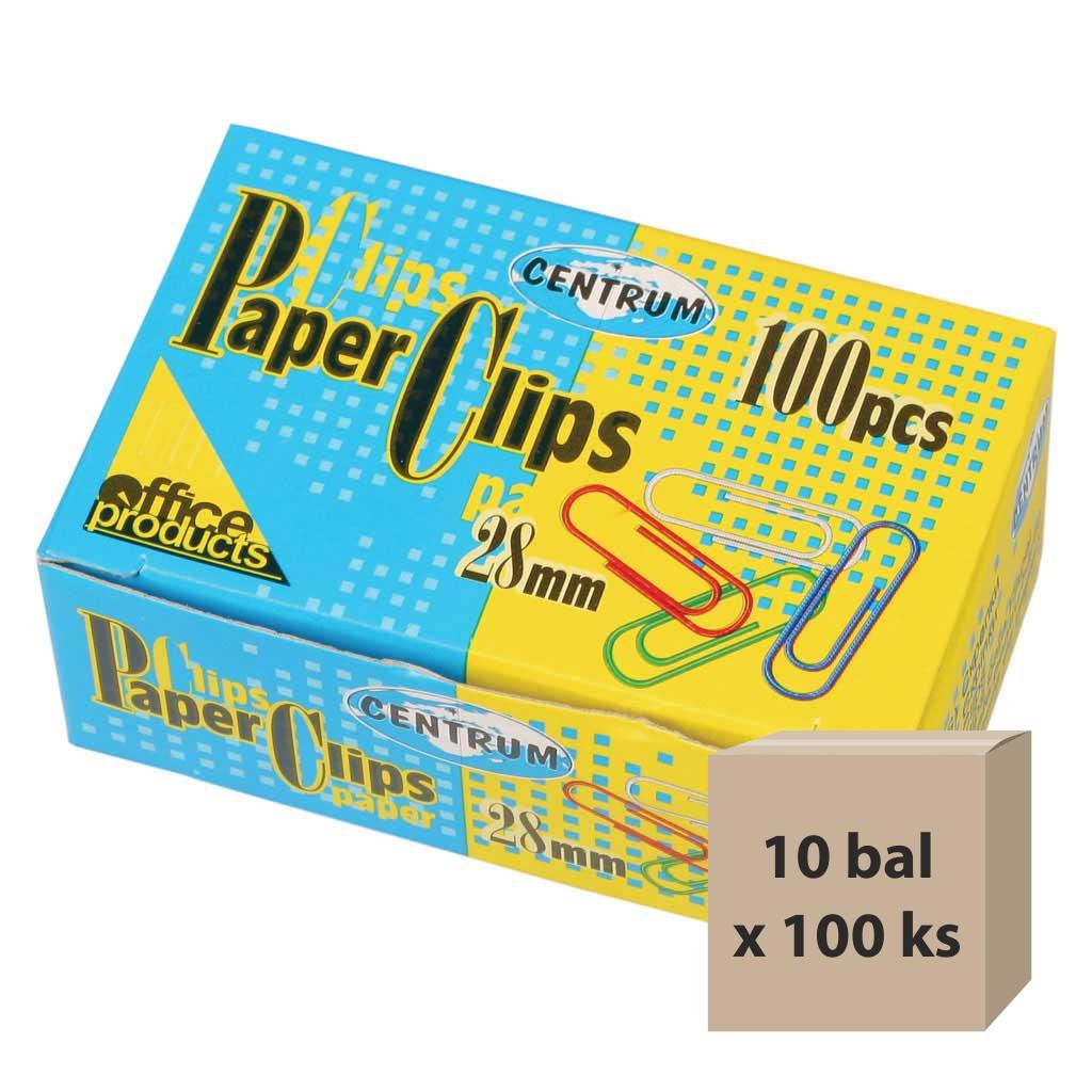 Spony listové fareb. 28 mm, 10 bal x 100 ks
