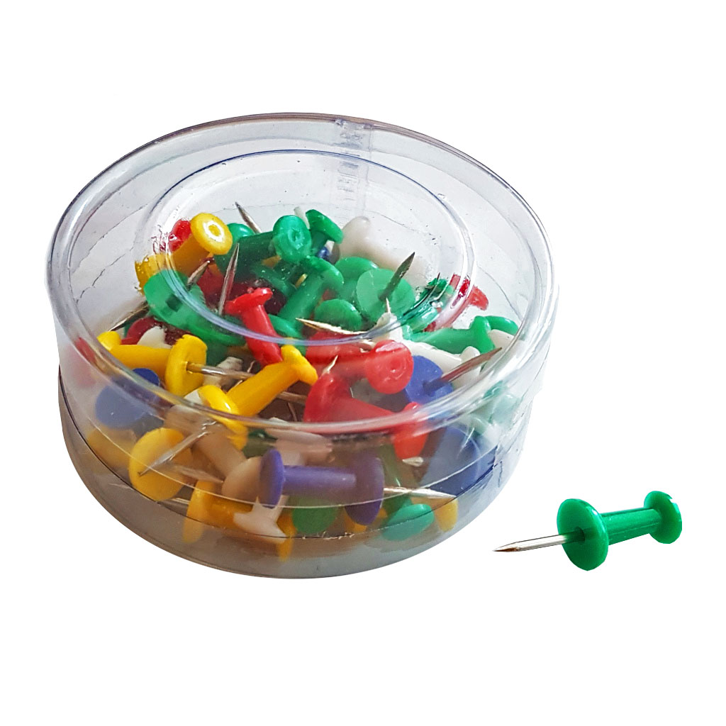 Pripináčiky Push Pins farebné / 50 ks