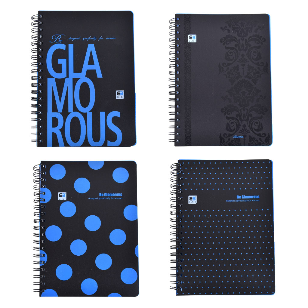 Poznámkový blok B5 so špírálou, Glamour, 100 listový, štvorčekový