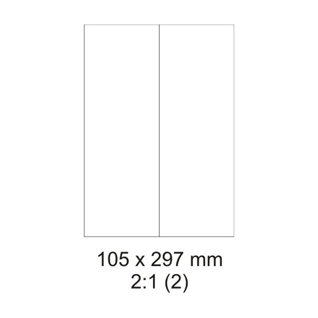 Etikety PRINT biele - 105 x 297 mm - (100 hár)