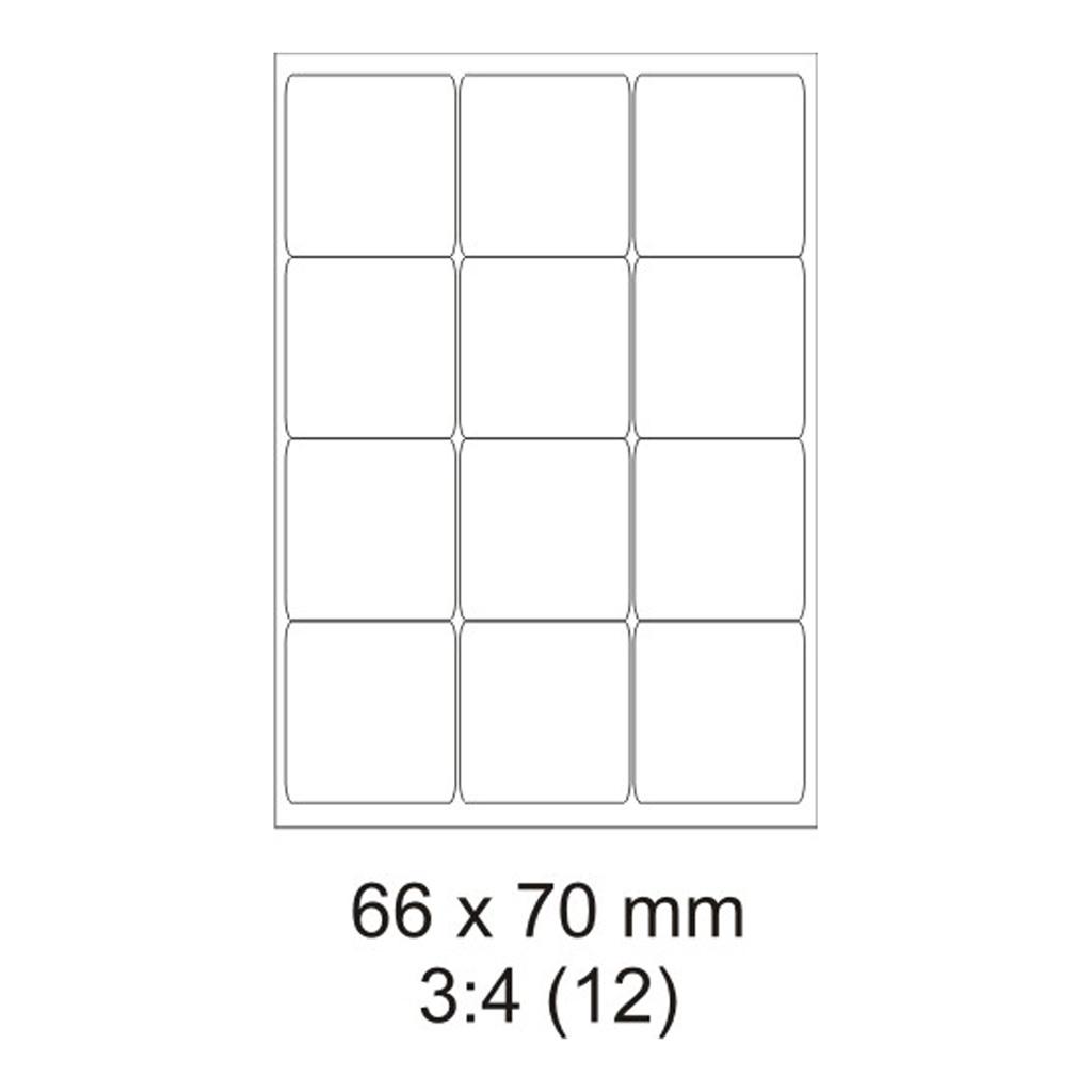 Etikety PRINT biele - 66 x 70 mm - (100 hár)